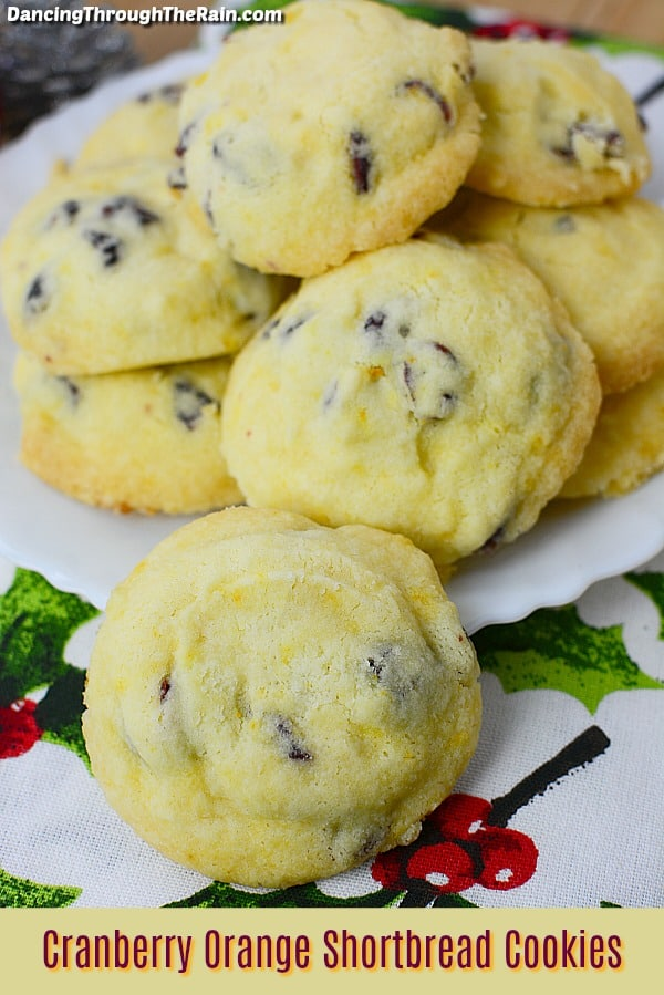 Cranberry Orange Shortbread Cookies on a white plate