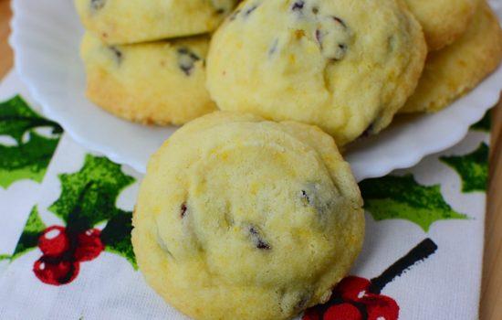 Cranberry Orange Shortbread Cookies on a plate