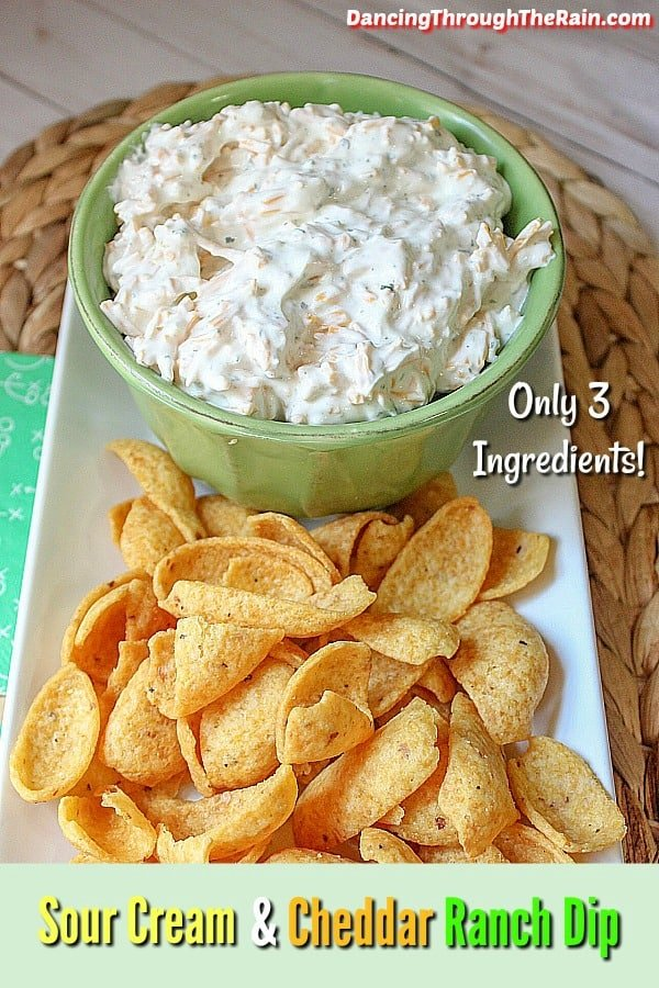Sour Cream & Cheddar Ranch Dip in a bowl with Fritos