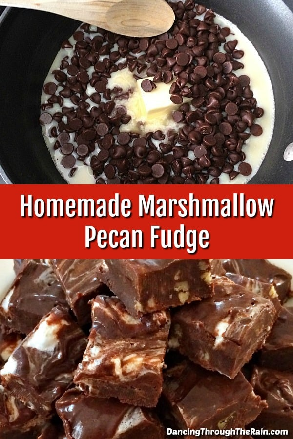 One picture of Chocolate Marshmallow Fudge with Pecans being make in a large saucepan and another of a closeup of a pile of fudge
