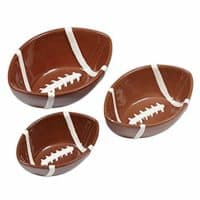 DII Design Imports Football Ceramic Nesting Small Snack Bowls Set of 3