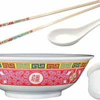 Pho Rice/Noodle Melamine Soup Bowl Set with Pan Scraper, 45 Ounce, 8.75 Inch, Includes 1 Pair of Chopsticks and 1 Oriental Soup Spoon, Pho Size Medium, Longevity Design