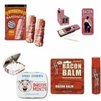 Bacon Lovers Gift Set (Bundle of 4 Items) - Bacon Bandages, Bacon Mints, Bacon Toothpicks, and Bacon Lip Balm