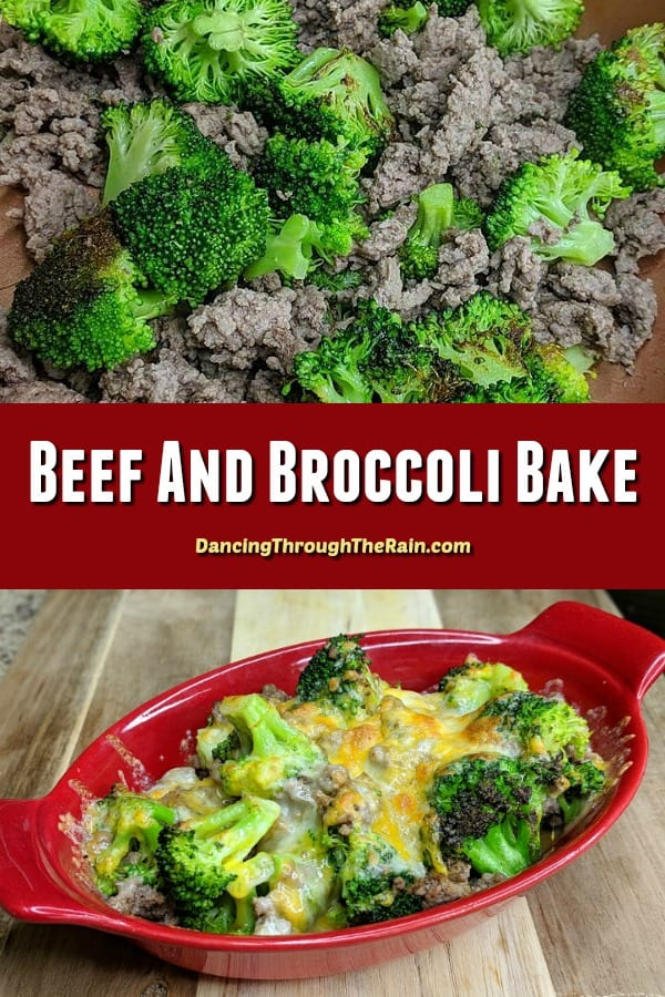 One picture of broccoli and ground beef in a pan and another of Beef and Broccoli Bake in a red oblong casserole dish