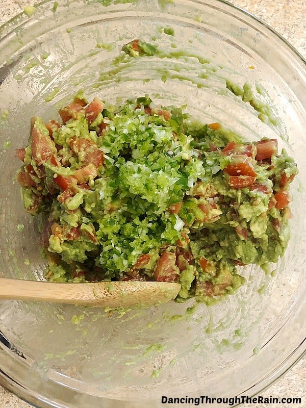 Homemade guacamole ingredients in a bowl