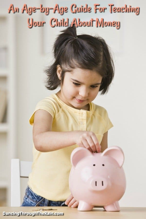 Child putting money in a piggy bank