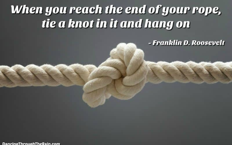 Rope with a knot in it plus a Franklin D. Roosevelt quote