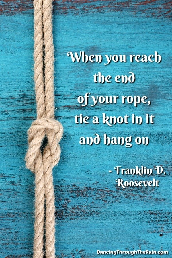 A blue background with a rope and knot plus Franklin D. Roosevelt quote