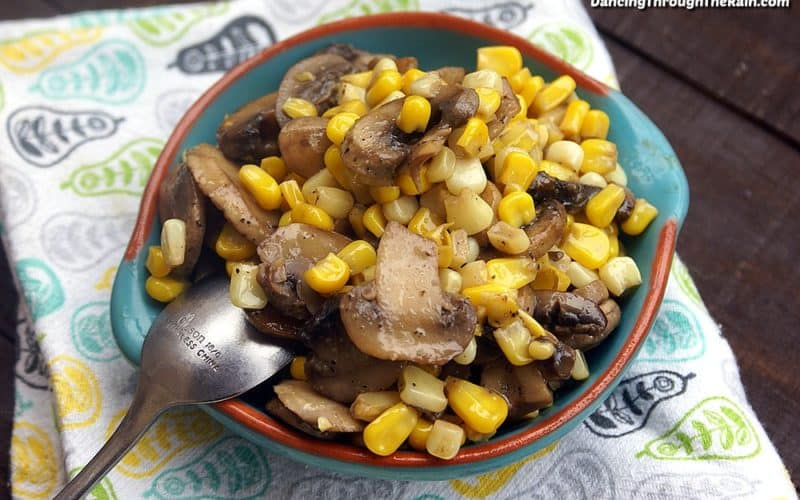 Mushroom and corn saute in a bowl