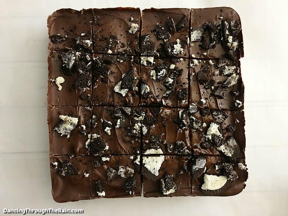 Oreo Krispie Treats cut into 16 pieces