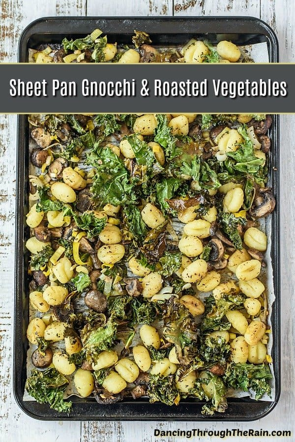 As sheet pan recipes go, this sheet pan gnocchi and vegetables is a fantastic dinner that you can have ready in less than half an hour! One of those family dinner ideas that you can keep in your back pocket! Whether you're looking for gnocchi recipes, mushroom recipes, kale recipes or leek recipes, you've happened upon the perfect dish! #gnocchi #gnocchirecipes #vegetables #kalerecipes #mushroomrecipes #leekrecipes #vegetarian #vegetarianrecipes