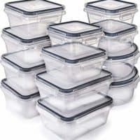 [12-Pack] Food Storage Containers with Lids - Plastic Food Containers with lids - Plastic Containers with lids - Airtight Leak Proof Easy Snap Lock and BPA Free Plastic Container Set for Kitchen Use