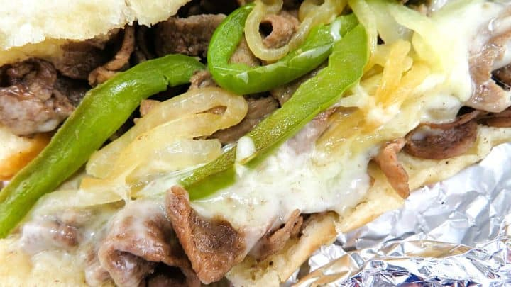 Philly Cheese Steak on aluminum foil