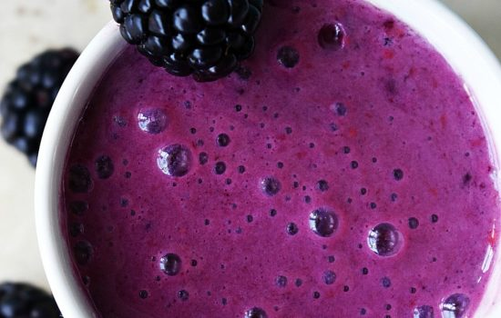 Raspberry Blackberry Smoothie in a mug