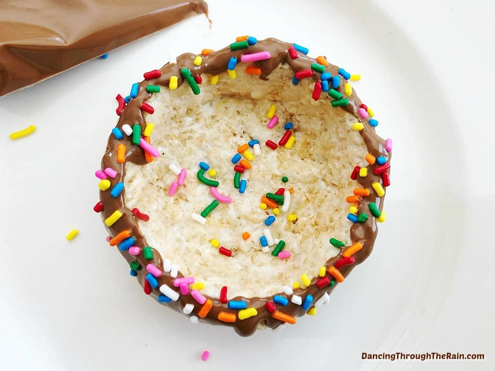 Rice Krispies ice cream bowl with sprinkles