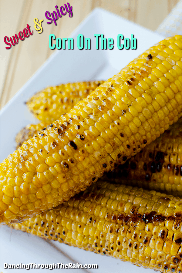 Sweet & Spicy Corn on the cob on a white plate