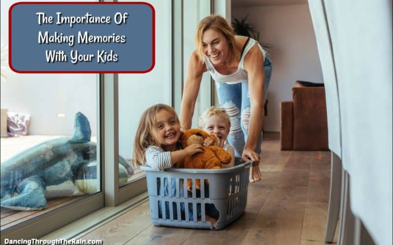 Mother pushing her kids in a laundry basket