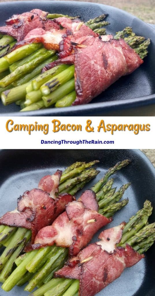 Two pictures of three Bacon Wrapped Asparagus bunches in a cast iron pan on the grill
