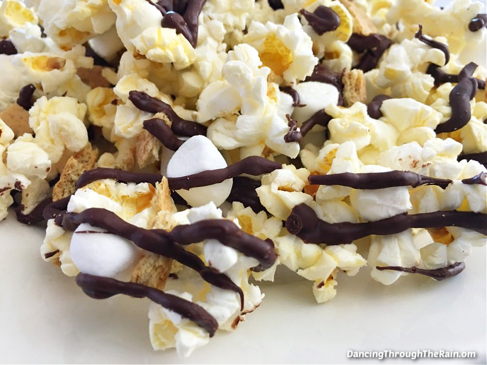 S'mores Popcorn on a white plate