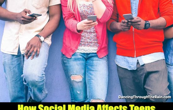 Teenagers using social media on cell phones