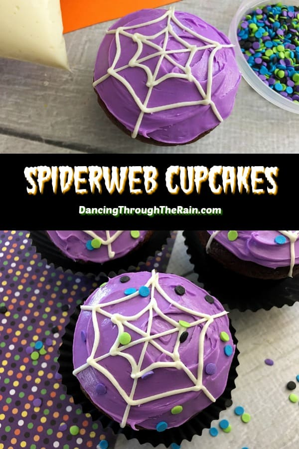 These Halloween Spiderweb Cupcakes are the perfect Halloween treats to serve for the holiday! Whether you are looking for Halloween party ideas for kids or just something for the family, these will be tasty treats that won't last long! #halloween #dessertrecipes #desserts #spiders #cupcakes #cupcakerecipes #halloweenrecipes #halloweendesserts