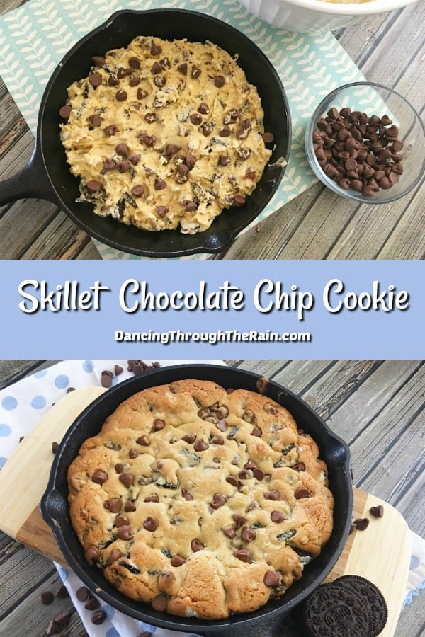 Two pis of Skillet Chocolate Chip Cookies, one before baking and the other after