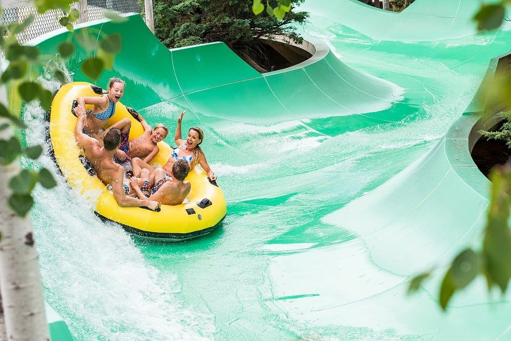 A group of people on an innertube at Noah's Ark Waterpark