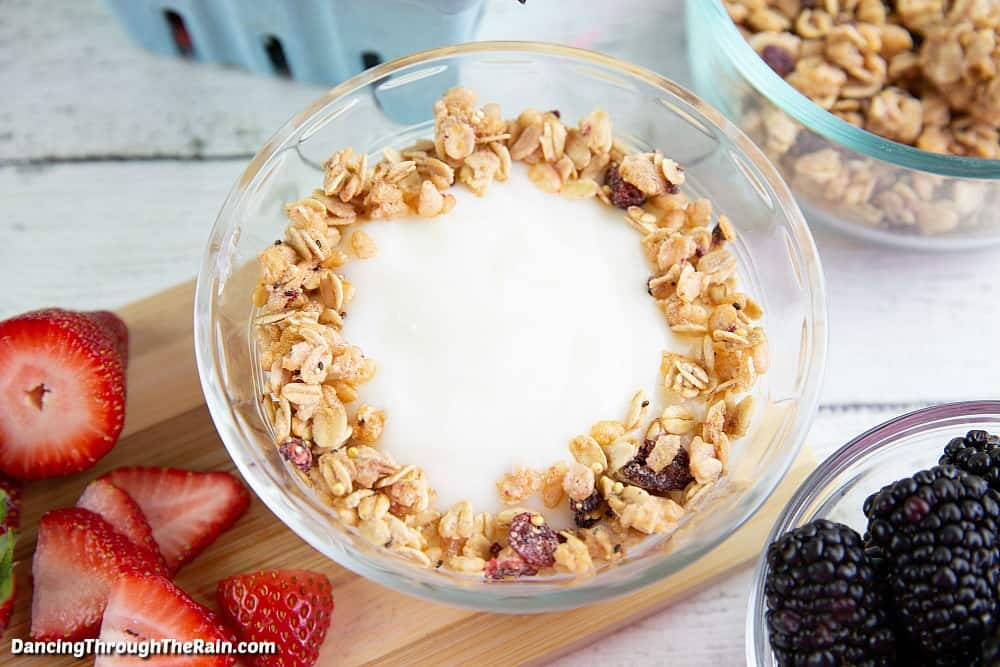 A bowl of yogurt with a ring of granola around the inner edge