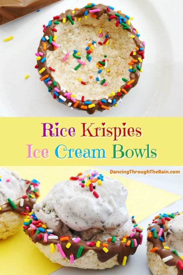 One picture of a Rice Krispie Treats Ice Cream Bowl with rainbow sprinkles inside and another picture of three bowls with vanilla ice cream inside and rainbow sprinkles on top