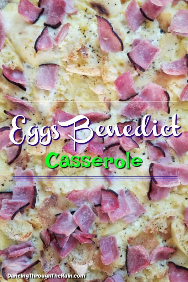 A closeup of the eggs benedict casserole just out of the baking dish