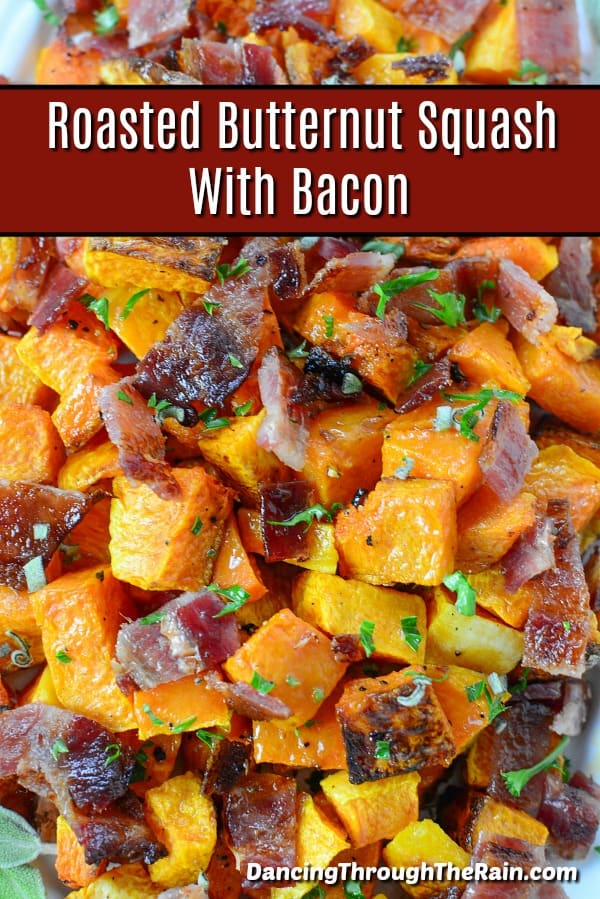 Butternut Squash with Bacon on a plate