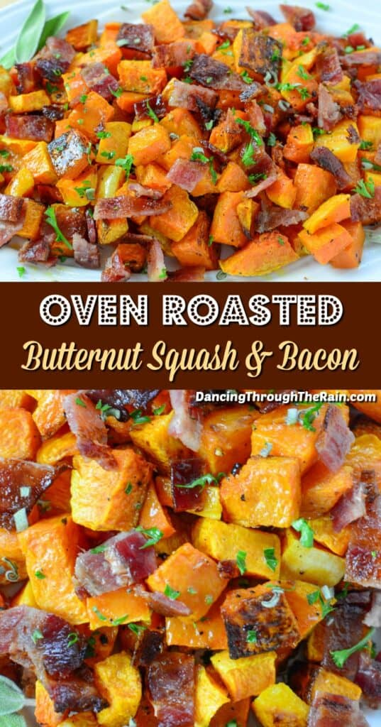 Two pictures of Roasted Butternut Squash with Bacon And Sage