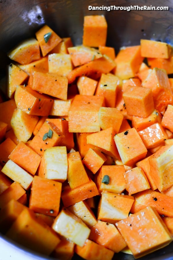 Butternut squash cubes in a bowl