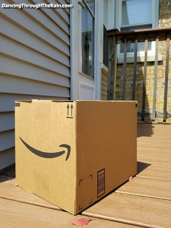 Amazon box waiting on a front porch