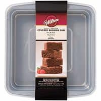 """Wilton 2105-9199 Recipe Right Non-Stick Square Brownie Baking Pan with Lid, for Transporting Your Dessert from Home to Party, x 9-Inch, 9"""" x 9"""", Gray"""