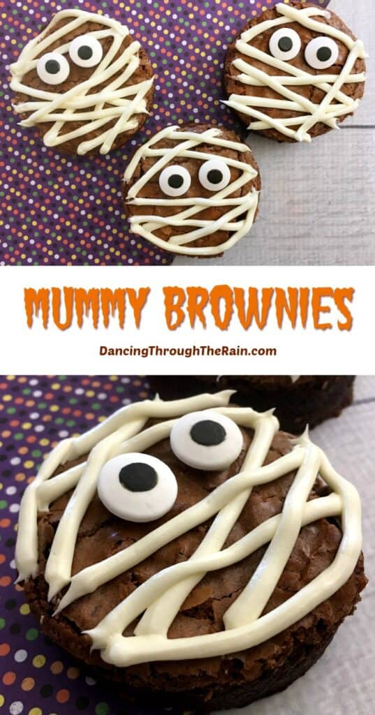 Two images of Halloween Mummy Brownies
