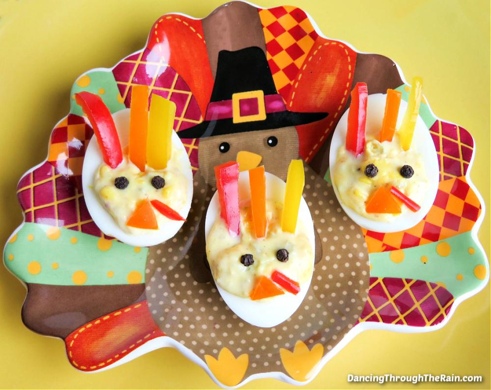 Three Turkey Deviled Eggs on a Thanksgiving turkey plate