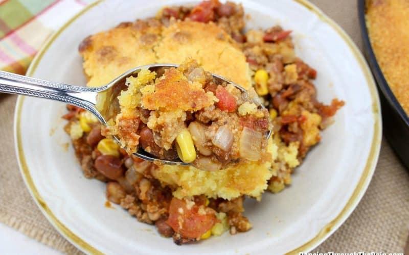 Cast Iron Cornbread Chili on a plate