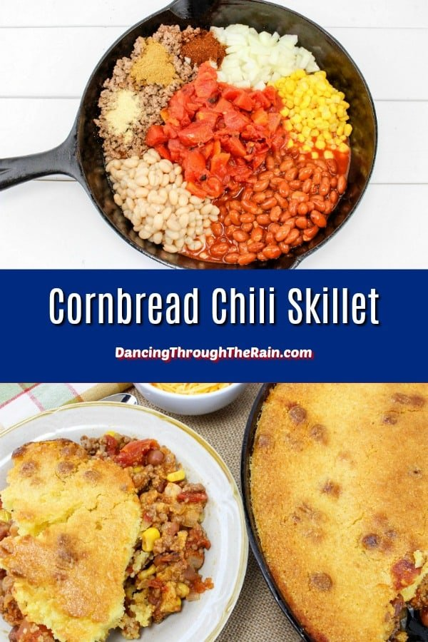 If you've been looking for a new cornbread recipe, you have to try my Cornbread Chili Casserole! You don't always think of cast iron recipes when making chili, but this one is amazing. With beef and beans, it is a hearty dinner recipe for any night of the year. #cornbread #chili #casserole #castiron