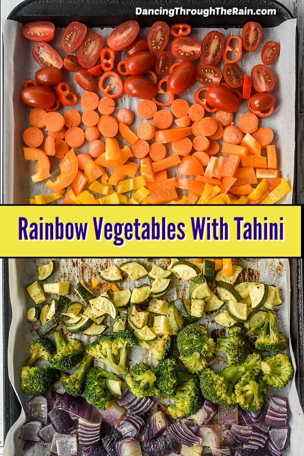 This Rainbow Vegetables recipe is a beautiful way of having your dinner vegetables! A delicious sheet pan vegetables recipe, it's an easy vegetarian dinner! #rainbow #veggies #vegetables #sheetpan #vegetarian #recipe