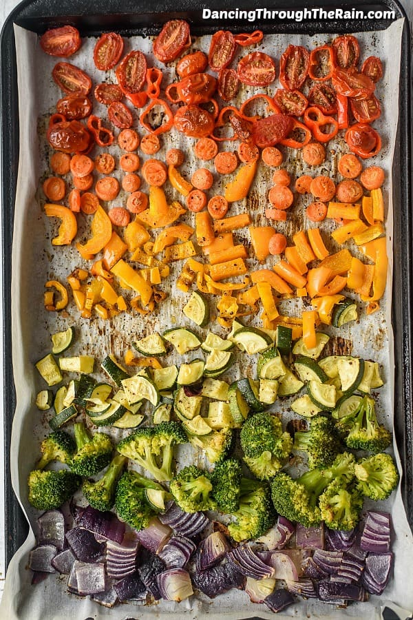 Cooked rainbow veggies on a sheet pan