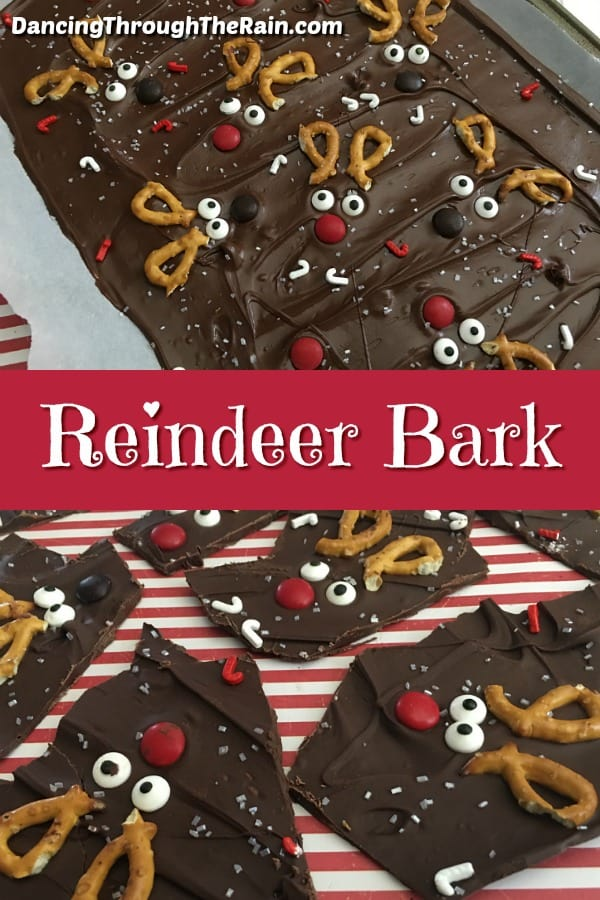 To pictures of chocolate Reindeer Bark, one while still warm and spread out in one layer on a cookie sheet and another of pieces finished and ready to eat
