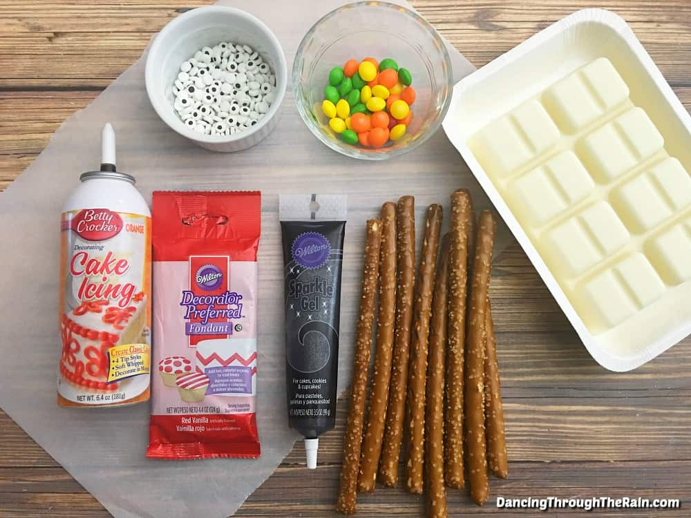 Ingredients for Snowman Pretzels