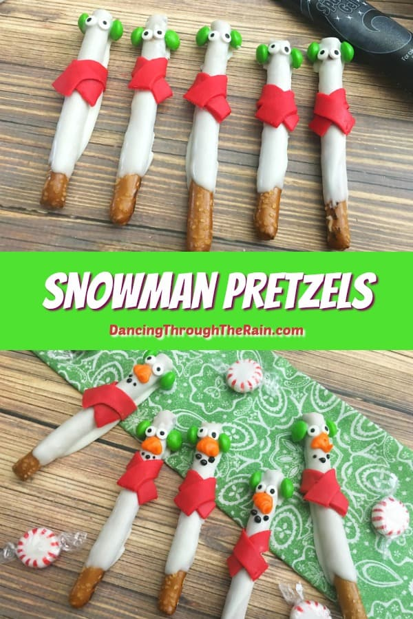 These Snowman Pretzels are fun snowman desserts that you can make for any winter occasion! Perfect bake sale ideas or New Year's desserts for kids! #snowman #pretzels #winter #bakesaleideas #dessertsforkids #kids