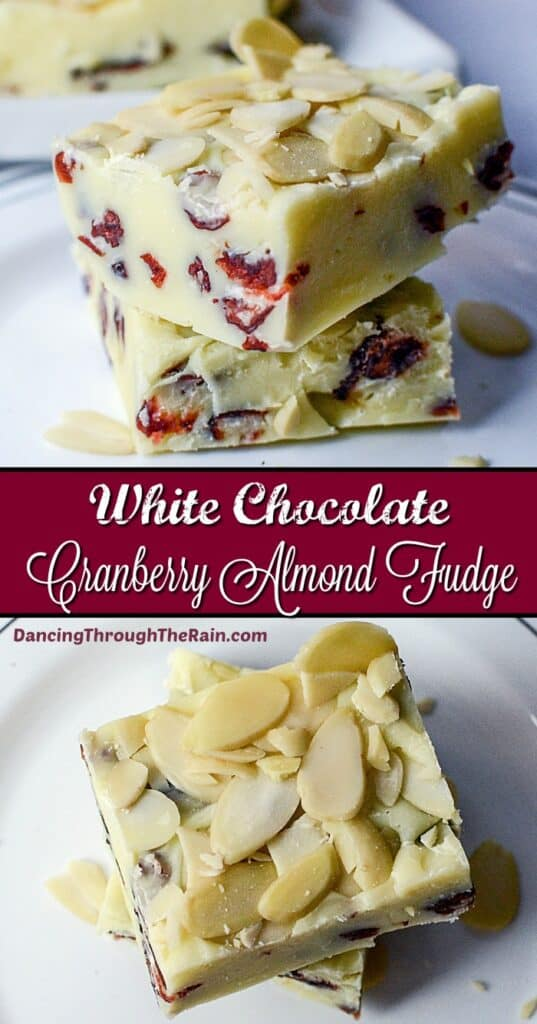 Two pictures of White Chocolate Cranberry Fudge on white plates