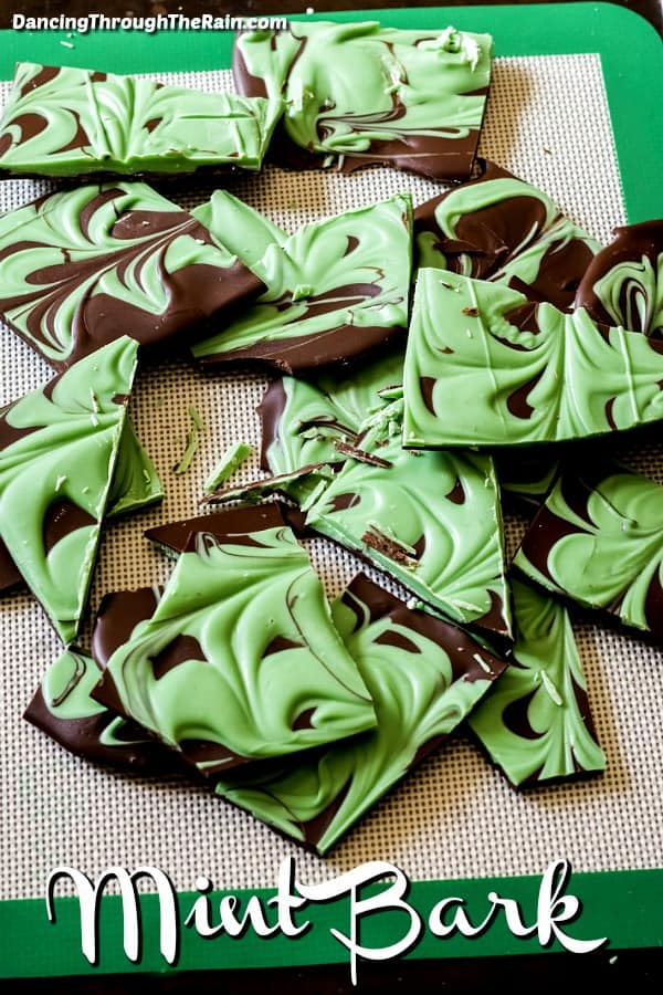 Dark Chocolate Mint Bark broken into pieces on a tray