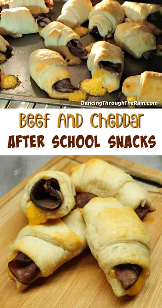 Two pictures of Roast Beef And Cheddar Crescent Rolls