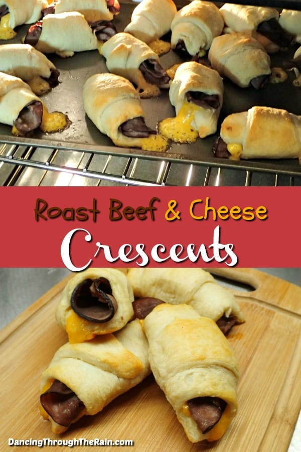 Two photos of Roast Beef and Cheddar Crescent Rolls, one in the oven, the other baked on a cutting board