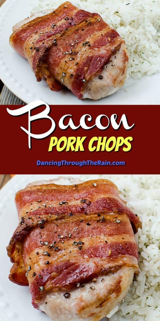 Two pictures of Bacon Pork Chops on a white plate