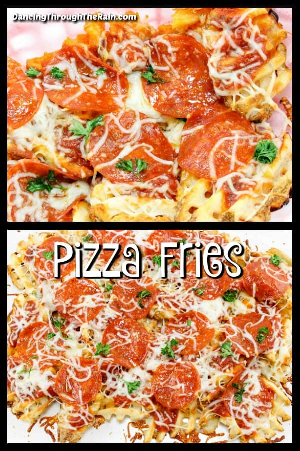 Pizza Waffle fries in two photos, one above the other